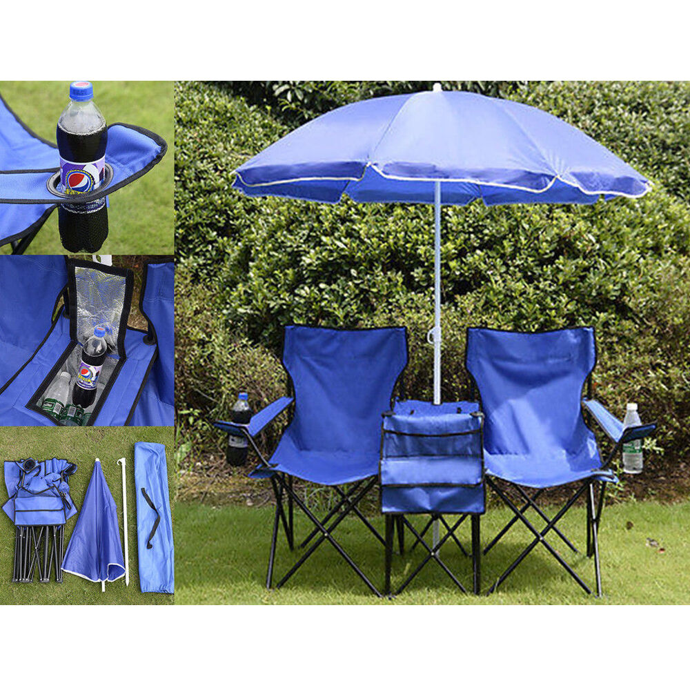 Beach Chair Picnic Double Folding Table Chair With Umbrella Table Cooler Fold Up