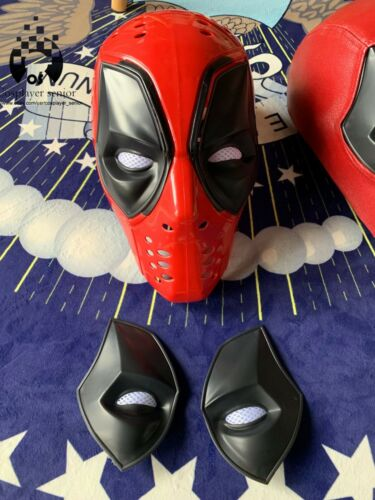 UPGRADED Deadpool Plastic Full Shell Mask with TWO Sets of Magnetic Lenses