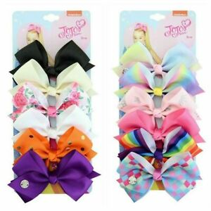 JOJO-SIWA-6-Pcs-Set-Rainbow-Printed-Knot-Ribbon-Bow-Hair-Chip-For-Kids-Girls-S8