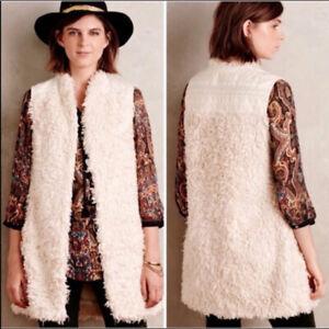 Hei Hei Anthropologie Cream Faux Fur Embroidered Back Plush Fuzzy Vest Size M