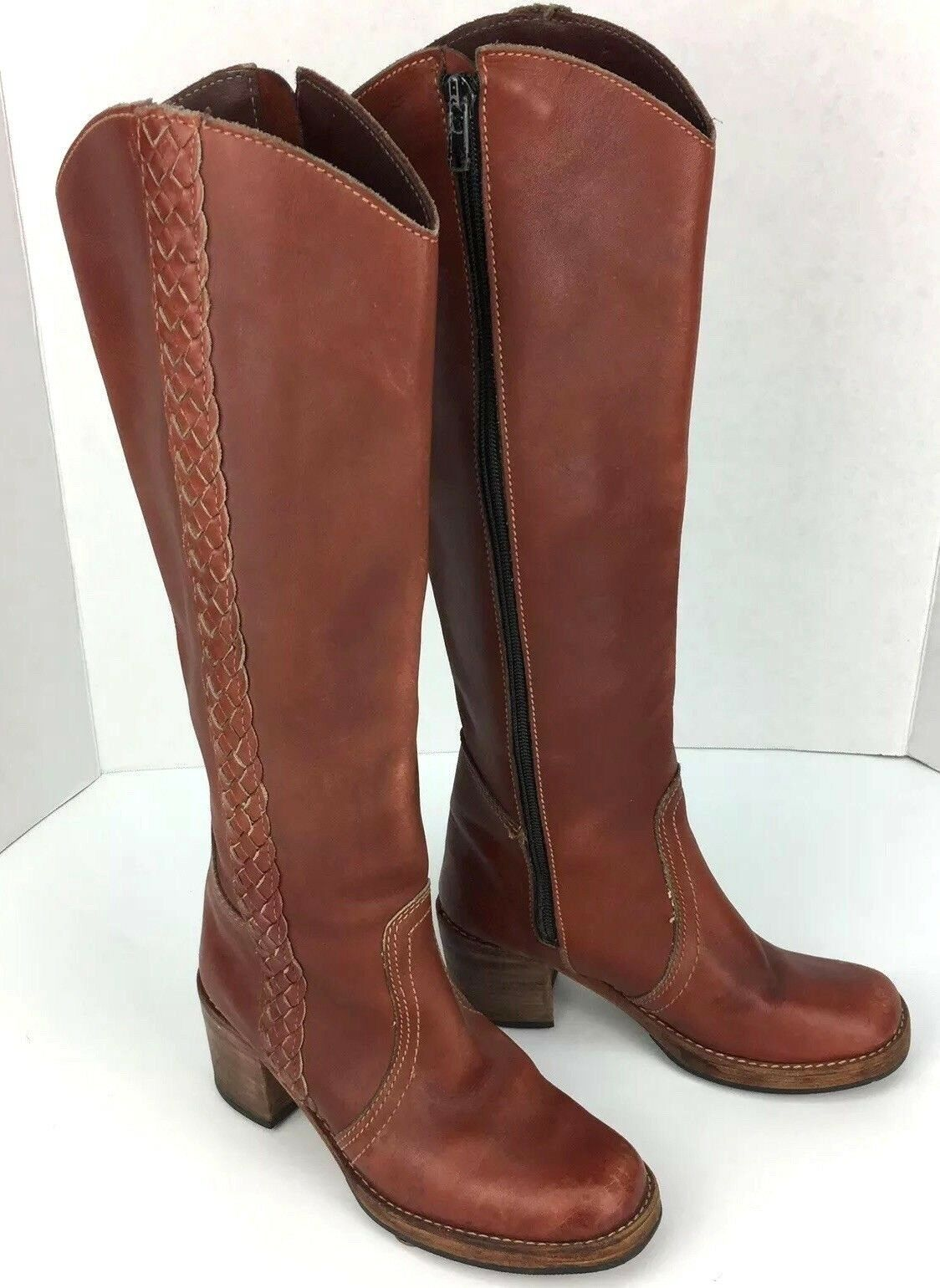 Womens Size 6 M Leather Boots Tall Zip Side Braid Red orange Heel Vintage