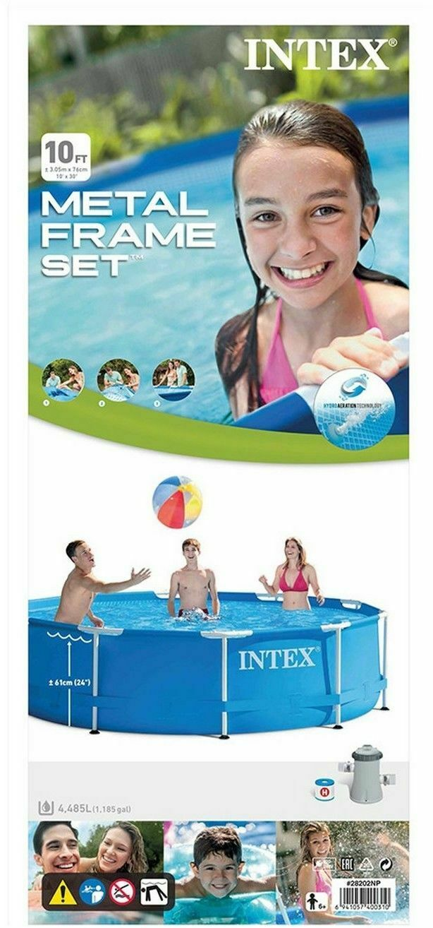 Intex - 10ft x 30in Metal Frame Pool Set, Above Ground Swimming Pool with Pump