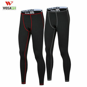 Men-039-s-Thermal-Fleece-Winter-Cycling-Pants-Warm-Tights-Base-Layer-Sport-Underwear