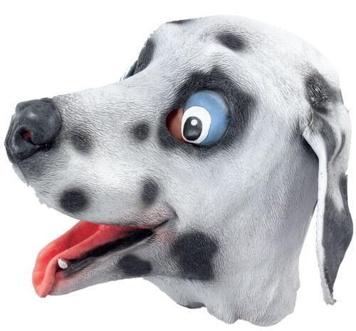 Adult Dalmatian Dog Rubber Face Mask Animal Halloween Fancy Dress Costume Outfit
