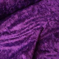 Purple Crushed Velour Velvet Fabric Gothic Bridal P/Mtr