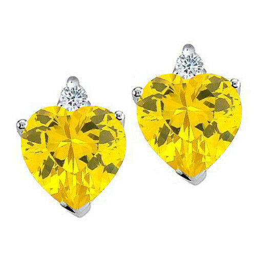 Womens//Children 2.03CT 14K Gold Or 925 Silver Heart Shape Citrine Stud Earrings