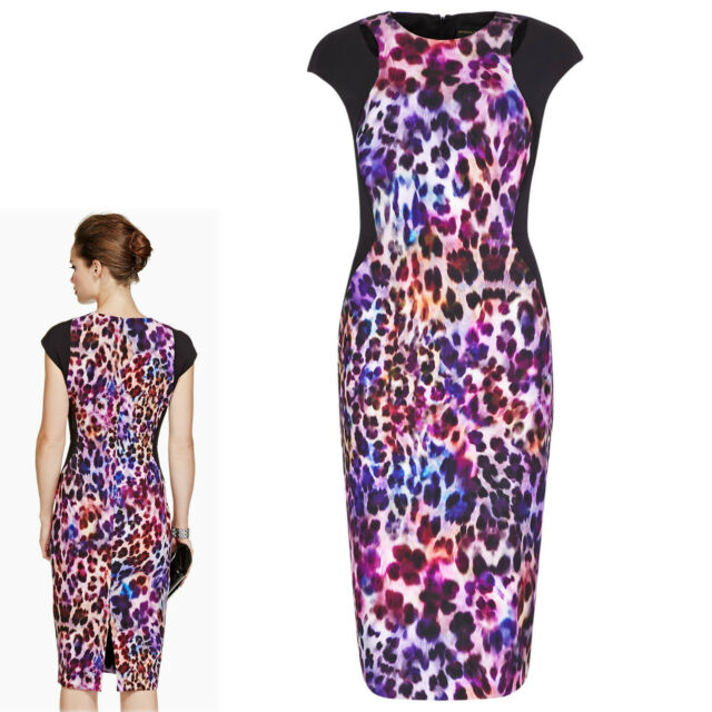 New PER UNA SPEZIALE Animal Print BODYCON DRESS ~ Size 16 ~ PURPLE Mix