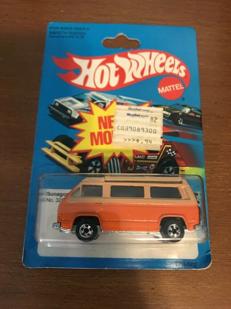 1979 Vintage Hot Wheels SUNAGON Volkswagen Van w BIKE Roof Open Hong Kong New