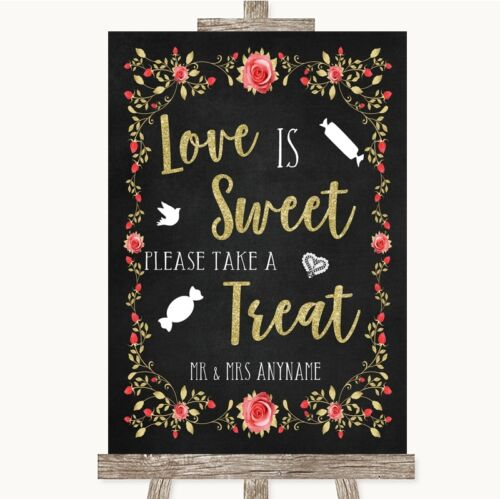 Chalk Blush Pink Rose Gold Love Is Sweet Take A Treat Candy Buffet Wedding Sign
