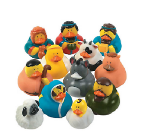 RUBBER-DUCKS-NATIVITY-SCENE-DUCKS-BABY-JESUS-MARY-JOSEPH-THREE-KINGS-2-034-SET-12