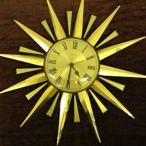 METAMEC-LARGE-SUN-BURST-QUARTZ-MOVEMENT-WALL-CLOCK-IN-WORKING-ORDER
