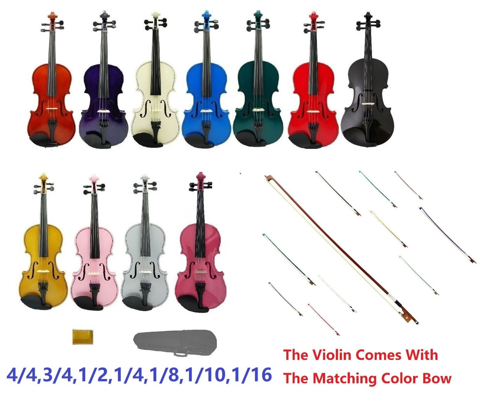 New colord Violin,Case,Bow+Free colord Bow+Rosin Student,Beginner 4 4 - 1 16