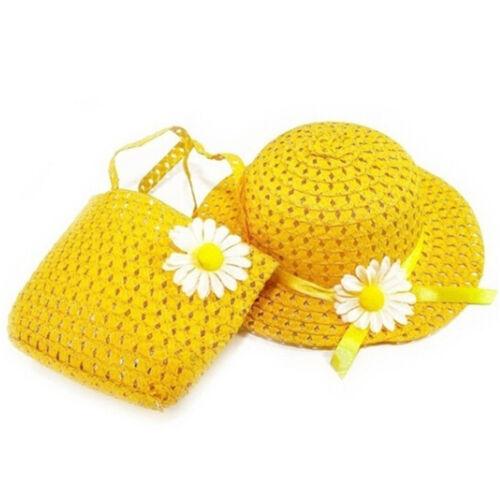 1Set Summer Girls Beach Hats Bags Flower Straw Cap Kids Children Handbag Hat