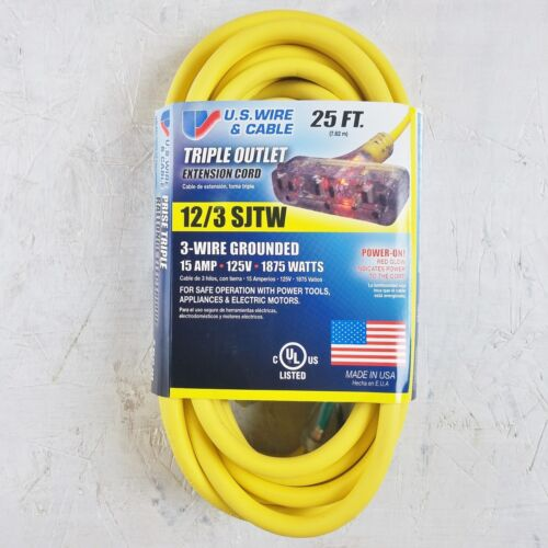 25/' 12 Gauge Yellow Extension Cord w Lighted Triple Outlet MADE IN USA
