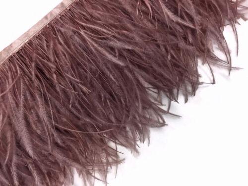 1 Yard Mocha Ostrich Fringe Trim Wholesale Feather Craft Prom Dress Supplier