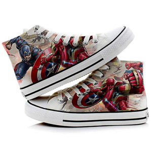 Details about Iron Man Captain America Super Hero Printed Sneakers Cosplay Canvas Shoes New