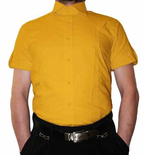 Designer Slimfit Herren Hemd Kurzarm Slim Fit tailliert K14 2 Knopf