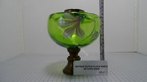 NICE-GREEN-GLASS-ART-NOUVEAU-OIL-TANK-FOR-REPLACEMENT-WITH-FLORAL-DECORATION