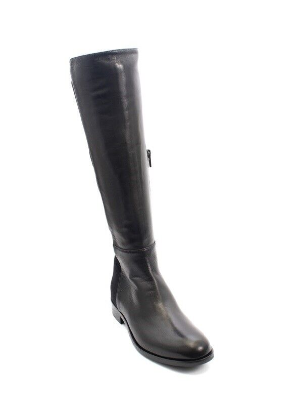 MOT-CLe 649 Black Leather / Stretch Knee-High Side-Zip Riding Boot 37.5 / US 7.5