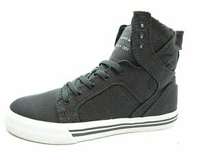 SUPRA-Kids-SKYTOP-CHARCOAL-WHITE-YOUTH-SHOES-SELECT-SIZE-SK13045