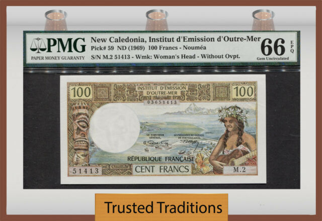 TT PK 59 1969 NEW CALEDONIA 100 FRANCS PMG 66 EPQ GEM UNC. POP 3 NONE FINER!