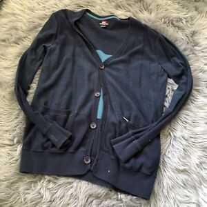 Quicksilver-Men-039-s-casual-Button-Up-Cardigan-Sweater-Large-Blue-Striped