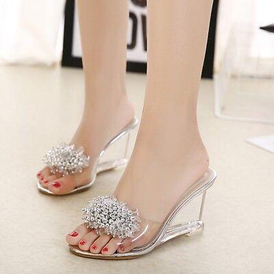 Women Summer Wedge High Heels Clear Slippers Beads Slip On Peep Toe Shoes Sandal | eBay