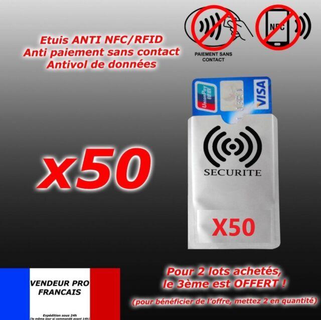 50 Protection carte bancaire sans contact bleu visa RFID NFC étui ANTIPIRATAGE .