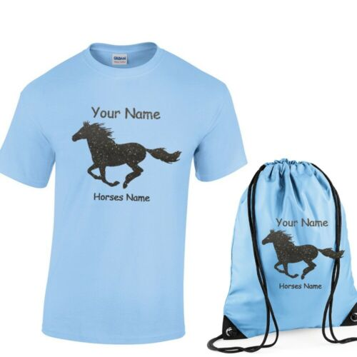 Girls Personalised T Shirt /& Bag Set with Galloping Horse /& Horse name 3-13 NEW