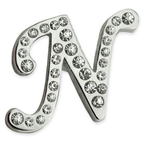 PinMart/'s Silver Plated Rhinestone Alphabet Letter N Lapel Pin