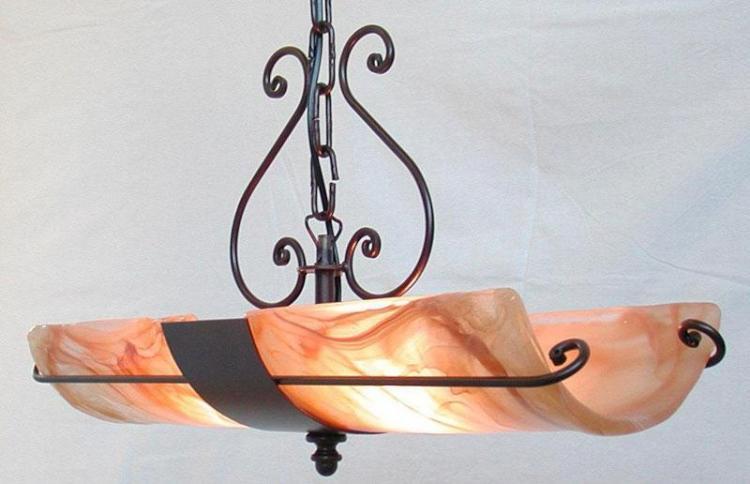LAMPADARIO 2 COPPI IN LINEA IN FERRO BATTUTO LANTERNA APPLIQUE LAMPIONE LAMPADE