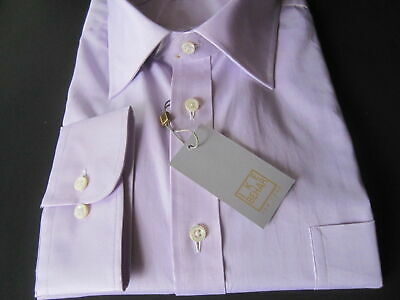 $225 IKE BEHAR NEIMAN MARCUS TWILL SOLID PURPLE HELIO SHIRT GOLD LABEL LUXURY LS