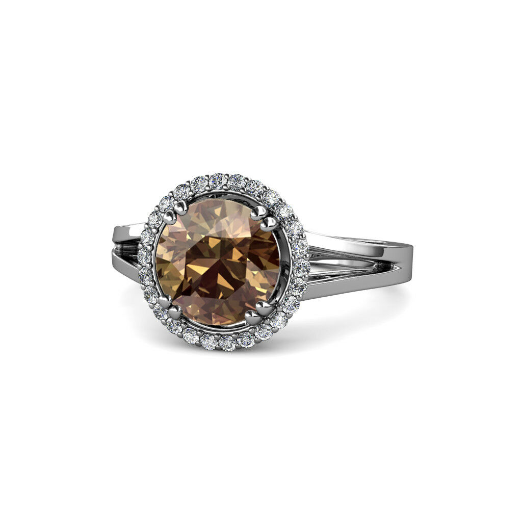 Smoky Quartz and Diamond Floral Halo Ring 2.86 Carat tw 14K White gold JP 109100