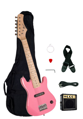 "Strap Raptor 30/"" Kids 1//2 Size PINK Electric Guitar Package with Amp Gig Bag"