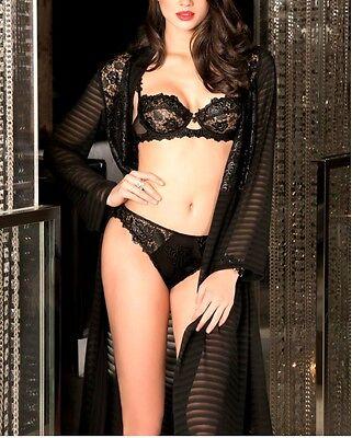Kind-Hearted Lise Charmel Ajourage Petales Deshabille Alc2068 Stripes Noir Shrink-Proof Women's Clothing Women's Clothing