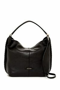 New-Cole-Haan-Addey-II-Double-Strap-Pebbled-Leather-Hobo-Shoulder-Bag-Black-NWT