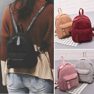 Women-039-s-Corduroy-Small-Mini-Backpack-Rucksack-Daypack-Travel-Bag-Purse-Cute