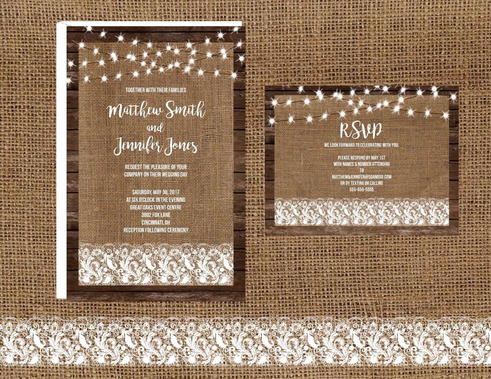 Wedding Invitations Rustic Wood Burlap Lights & Lace 50 Invitations & RSVP Cards