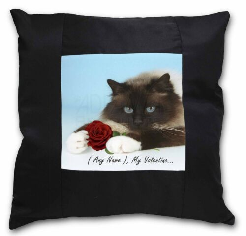 Personalised Any Name Black Border Satin Feel Cushion Cover With , VAC45RCSB