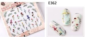 Nail-Art-Water-Decals-Stickers-Transfers-Spring-Dried-Flowers-Leaves-Floral-E362