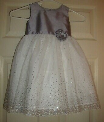 Intelligent George~girl's~christmas/fancy/wedding/silver/lame/white/dress! Brand/new! 4/t