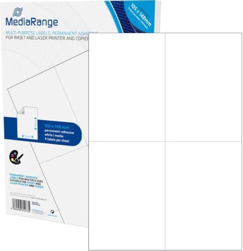 200 Mediarange Universal Etiketten 105x148 mm 50 A4 Blatt weiß selbstklebend