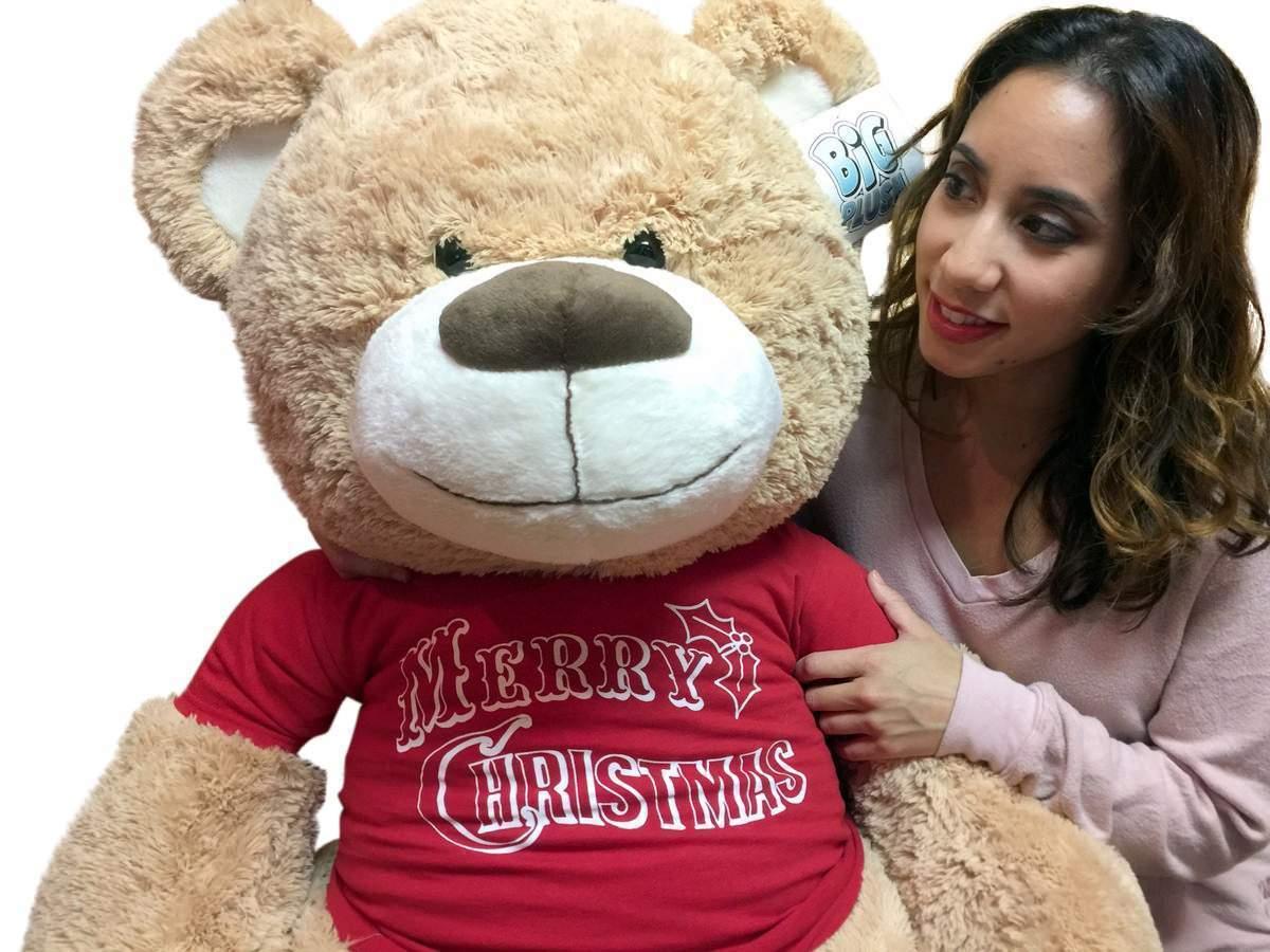 Big Plush 5 Foot Teddy Bear Tan Color Wears  Tshirt that says Merry Christmas