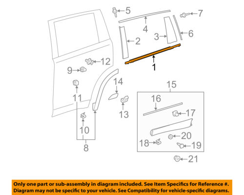 TOYOTA OEM 14-15 Highlander Rear-Window Sweep Belt Felt Molding Right 757300E070