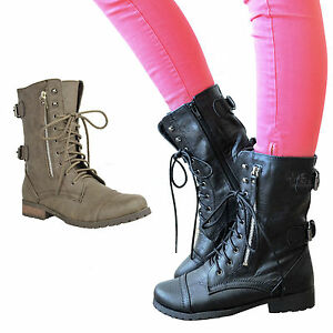 Ladies Womens Military BOOTS Army Combat Ankle Lace up Flat Biker Zip Size 8
