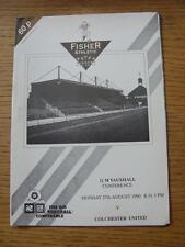 27/08/1990 Fisher Athletic v Colchester United [1st Non League Season] (No appar