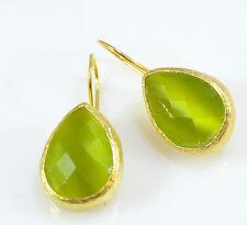 OttomanGems semi precious gemstone earrings gold Turkish ethnic Cat eye handmade