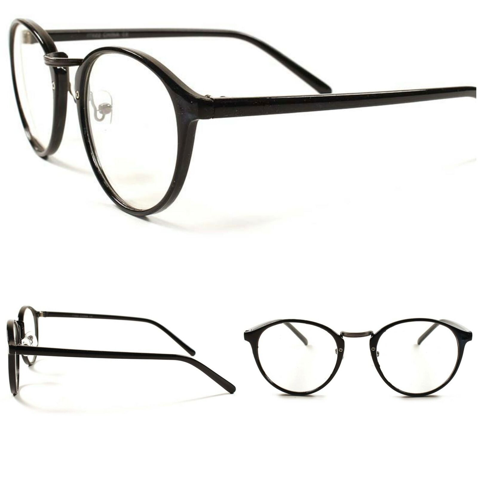 Designer Round Vintage Retro Cool Womens Thin Black Frame Clear Lens Glasses