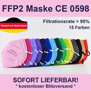 5 St Bunte FFP2 Maske 5-lagig Mundschutz Mund-Nasen-Bedeckung Zertifikat CE0598