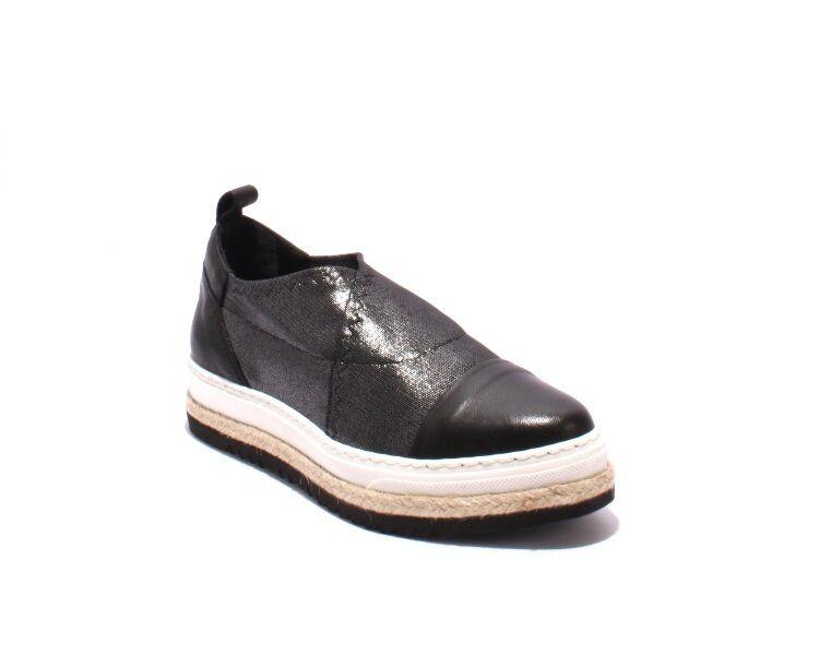 Laura Bellariva 8004 Malla de Cuero Negro Negro Negro gris Puntiagudo Sin Cordones Zapatos 41 US 11  tienda de venta